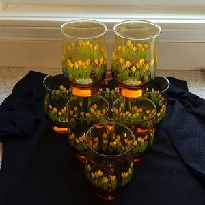 Vintage Libbey Amber Glasses Set of 8